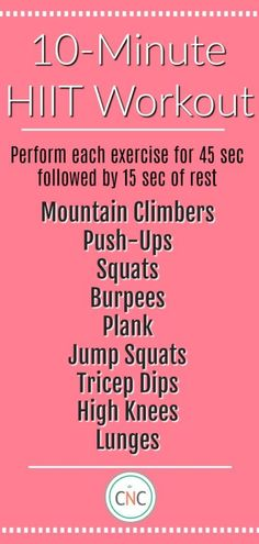 If you have 10 minutes you have time for this workout! Complete anywhere with no… If you have 10 minutes you have time for this workout! Complete anywhere with no equipment! Hiit Workout At Home, Workout Days, At Home Workouts, Workout Routines, Cardio Workouts, Fitness Workouts, Quick Workouts, Training Workouts, Circuit Training