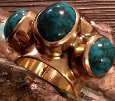 "Hopi CHARLES LOLOMA 18k Gold Lone Mountain Turquoise Ring ""MUSUEM PIECE"" 20+gram"