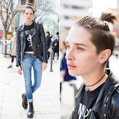 When we met model Sara Cummings on the street in Harajuku, she was wearing a biker jacket over a crop top, cuffed jeans, and boots. April 2015