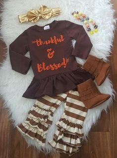 Brown and Cream Thankful and Blessed Outfit Set