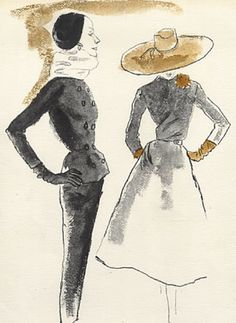 Fashion illustration by Bernard Blossac, 1953, Givenchy Couture (left), Madeleine de Rauch Couture (right).