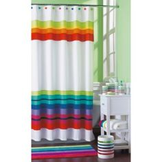 Rainbows don't have to be solid. Whole Home Rainbow Stripe Fabric Shower Curtain