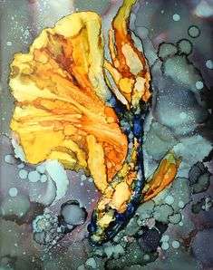 Yellow Siamese Fighting Fish, Abstract Alcohol Ink on 11x14 Yupo Paper by HeidiStavingaStudio on Etsy