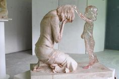 Sculpture of a woman after her abortion. Moving.