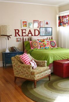 """I love the idea of the framed book pages with the word """"READ"""".  I think this would be awesome in a playroom or above a children's bookshelf."""