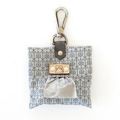 Grey Diamond Dog Poop Bag Holder (front view)