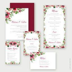"""Faire-part de Mariage - Wedding invitation """"Fleur aquarelle"""" papier old mil et enveloppe vélin bordeaux - impression couleur"""