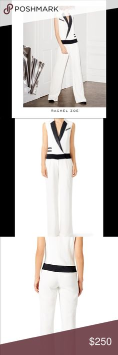 Rachel Zoe Keali Tuxedo Jumpsuit Rachel Zoe Keali Tuxedo Jumpsuit  A jumpsuit silhouette puts a modern twist on this tux-inspired style. Size + Fit: This jumpsuit runs true to size.   Bust: Great for any cup size - deep v provides minimal support in bust area  Waist : Not Fitted - comfortable room throughout midsection  Fabric: Fabric has no stretch  Product Details: White silk crepe (100% Viscose). Sleeveless. V-neckline. Straight leg jumpsuit. Front zipper and hook closure. Never worn…