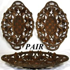 Lovely PAIR of Antique Black Forest Carved Wood Bread or Fruit Baskets, Reticulated Foliage