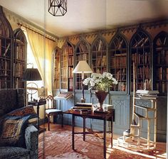 one of my favorite libraries - love the Gothic-styled book cases