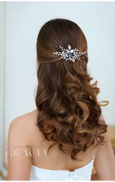 PANAGIOTA Navy Royal Blue Crystal Flower Bridal Hair Comb #topgraciawedding #bridalhairaccessories #weddingheadband