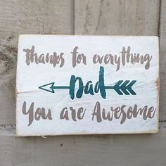 Thanks Dad Fathers Day Wooden Sign Plaque Shabby Chic Art Present Gift Home | eBay