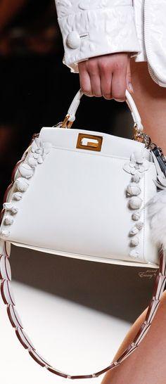 Brilliant Luxury♦Fendi Candy Colours Spring 2017♦Mini Peekaboo Floral-Embellished Satchel Bag #white