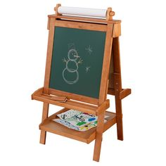 Kidkraft Adjustable Wooden Artists Easel - Childrens Drawing Easal 62008 for sale online Kids Art Easel, Art For Kids, Tableau Double Face, First Birthday Presents, Wooden Easel, Petites Tables, Kids Wood, Play To Learn, Whiteboard