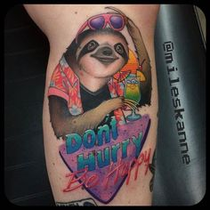 80's Party Sloth by @mileskanne at Steveston Tattoo Company in Richmond British Columbia. #sloth #party #donthurry #behappy #dontworrybehappy #80s #partysloth #mileskanne #stevestontattooco #richmond #britishcolumbia #bc #canada #tattoo #tattoos #tattoosnob