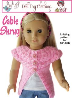 New knitting pattern for American Girl® Dolls. I'd love to see this in grey over a purple shirt :)