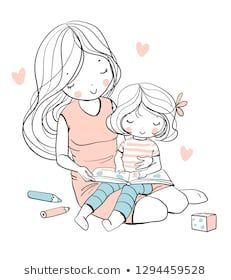 Find Mother Daughter Read Book Family Vector stock images in HD and millions of other royalty-free stock photos, illustrations and vectors in the Shutterstock collection. Family Illustration, Cute Illustration, Character Illustration, Mother And Daughter Drawing, Mother Art, Kawaii Drawings, Cute Drawings, Doodle Girl, Family Vector