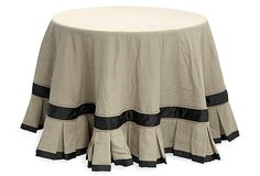 """90"""" dia Custom Cotton Table Skirt made of cotton and polyester ribbon.  Inverted box pleat at hem.  #boxpleat #tabletop"""