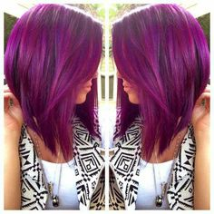 Fuchsia/Purple Bob haircut.  ❤