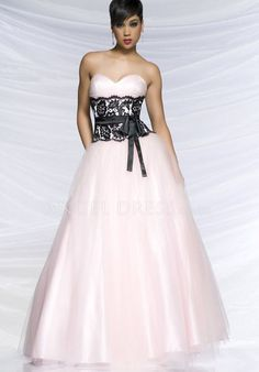 Tulle Sweetheart A line Empire Floor Length With Lace Prom Dress