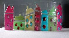 Higgledy-Piggledy Street - Standalone, Waved Fused Glass Lightcatcher Ornament