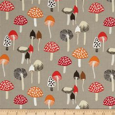 Dear Stella Woodwinked Mushrooms Pewter from @fabricdotcom  From Dear Stella, this cotton print is perfect for quilting, apparel and home decor accents.  Colors include white, beige, red, orange, sienna and shades of grey.