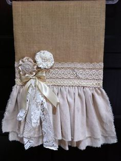 Burlap table runner with handmade flowers, vintage lace and BLING. Burlap Projects, Burlap Crafts, Sewing Projects, Diy Crafts, Lace Table Runners, Burlap Table Runners, Bedroom Crafts, Burlap Lace, Linens And Lace