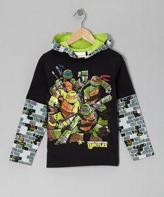Black Teenage Mutant Ninja Turtles Hooded Layered Tee - Boys by Teenage Mutant Ninja Turtles on #zulily