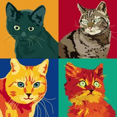 Colorful Cat Portraits by Italian artist Sebastiano Ranchetti..I like this to do for kenzies barkley