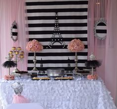 Gorgeous backdrop at a Paris birthday party! See more party ideas at CatchMyParty.com!