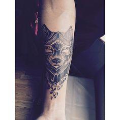 Geometric wolf. Mandala;Start of a sleeve.
