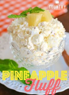 Easy Pineapple Fluff Pineapple Fluff is a no-bake dessert recipe with COOL WHIP, pineapple, marshmallows, instant pudding, pecans and coconut. So good and so easy! Pineapple fluff This ima Fluff Desserts, Köstliche Desserts, Pudding Desserts, Luau Party Desserts, Low Fat Desserts, Jello Recipes, Fruit Salad Recipes, Fruit Fluff Salad Recipe, Watergate Salad Recipe With Cottage Cheese
