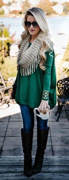 fringe scarf & emerald.