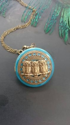 Check out this item in my Etsy shop https://www.etsy.com/listing/271124979/owls-turquoise-locket-necklace-antique
