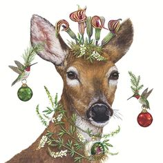 vicki sawyer christmas princess deer paper napkins. . . perfect for beverages while entertaining. Soft 3 – ply paper, naturally bleached, without chlorine. Made in Germany Animal Paintings, Animal Drawings, Illustrations, Illustration Art, Decoupage, Deer Art, Moose Art, Wow Art, Woodland Creatures