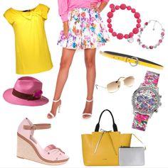 Romantická ružovo - žltá Polyvore, Fashion, Moda, Fashion Styles, Fashion Illustrations
