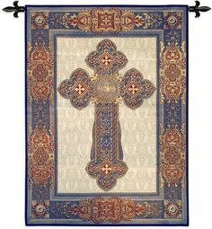 The Gothic Cross Wall Tapestry - x in. displays a dramatic Gothic Cross rendered in rich hues of blues and reds. This cotton tapestry showcases. Medieval Tapestry, Medieval Art, Medieval Times, Woven Wall Hanging, Tapestry Wall Hanging, Wall Hangings, Blue Tapestry, Corpus Christi, Decoration