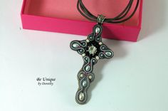CROSS PENDANT/soutache jewelry/soutache by BeUniqueGallery on Etsy