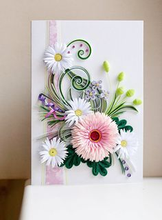 Handmade Quilling Card With Fresh Flowers by QuillingBG on Etsy