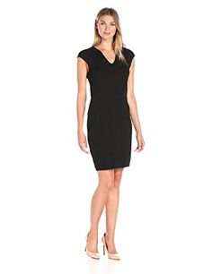 Lark  Ro Womens VNeck CapSleeve Ponte Sheath Dress Black XL >>> Check this awesome product by going to the link at the image.(This is an Amazon affiliate link and I receive a commission for the sales)
