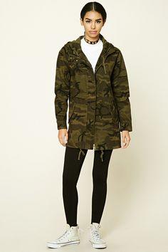Camo Print Longline Jacket
