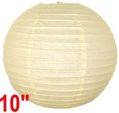 "10"" Ivory Chinese Japanese Paper Lantern - $1.09 each"