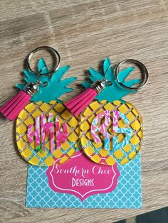 Pineapple monogram keychain preppy pattern by SouthernChicDesigns1