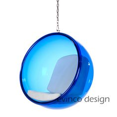Blue Hanging Bubble Chair. I have always loved bubble chairs