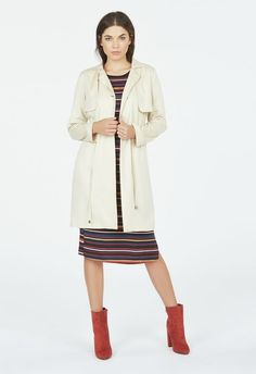 Button Front Trench  in Pale Taupe - Get great deals at JustFab