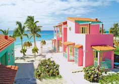 Villa Coral - Cayo Largo Cuba - colorful houses exteriors bright