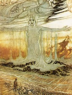 ''The Shipwrecked Man, the Wind, and the Sea'' (air and water) by Arthur Rackham
