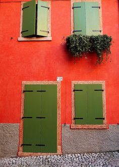 red house with green shutters, Malcesine, Italy