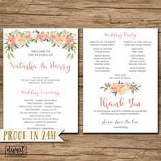 Floral Wedding Program, Order of Ceremony, Ceremony Program, Order of Service - double-sided or fan - watercolor pink blush roses - Natasha by DIVart on Etsy