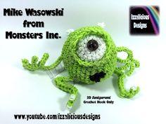 Rainbow Loom 3D Mike Wasowski (Monsters Inc) Figure.Doll Amigurumi.Loomigurumi ` Hook Only.Loom-less